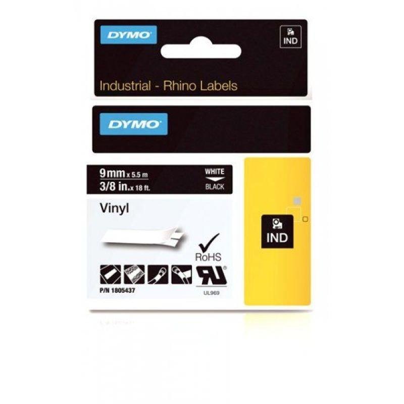 Dymo Rhino 9mm Whit on Black Vinyl Tape