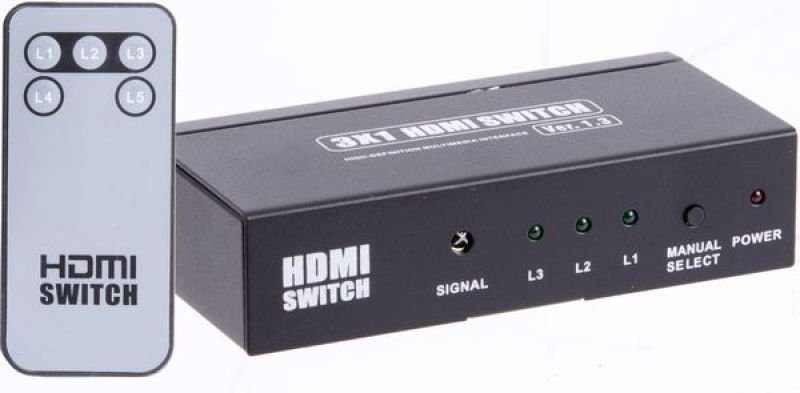 Xenta Black Metal HDMI Switch - 3 Inputs to 1 Output 1080p with Remote