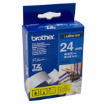 Brother TZe 555 Laminated tape- Gloss White on Blue