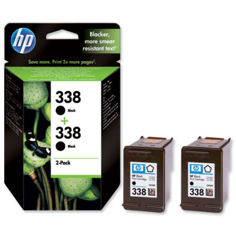 HP 338 Black Ink Cartridge  Twin Pack  CB331EE