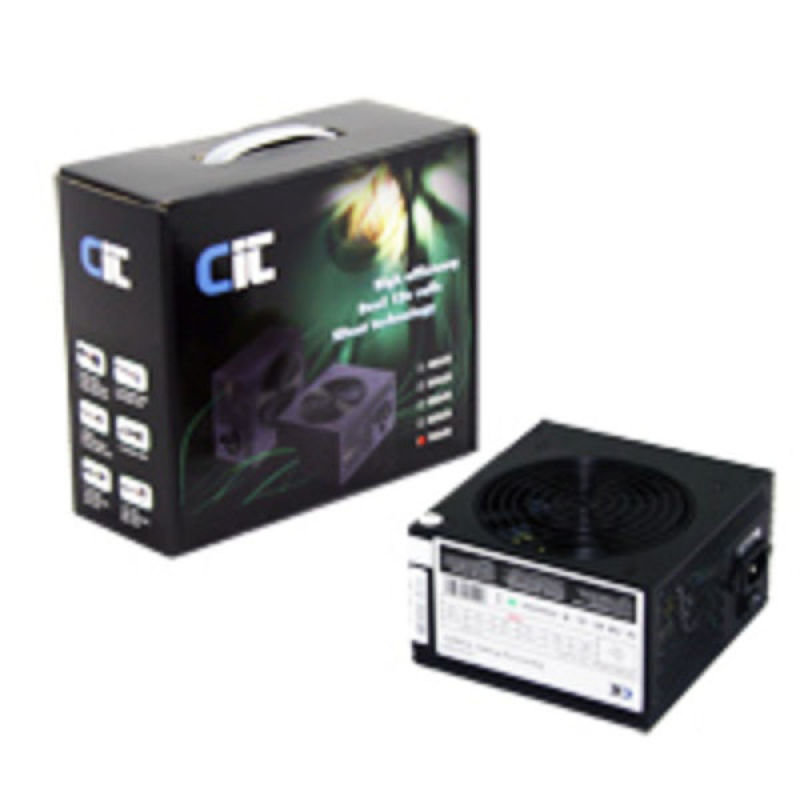 Image of CIT 650W Black Edition PSU 12cm Fan Dual 12v Rail 20+4pin 3x SATA