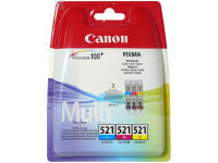 Canon CLI-521 3 Colour Multipack (CMY) Ink Cartridge - 471 Pages - 2934B010