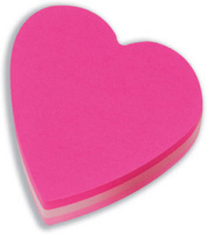 3M Postit Diecut Cube Heart Pink 225sht - 12 Pack
