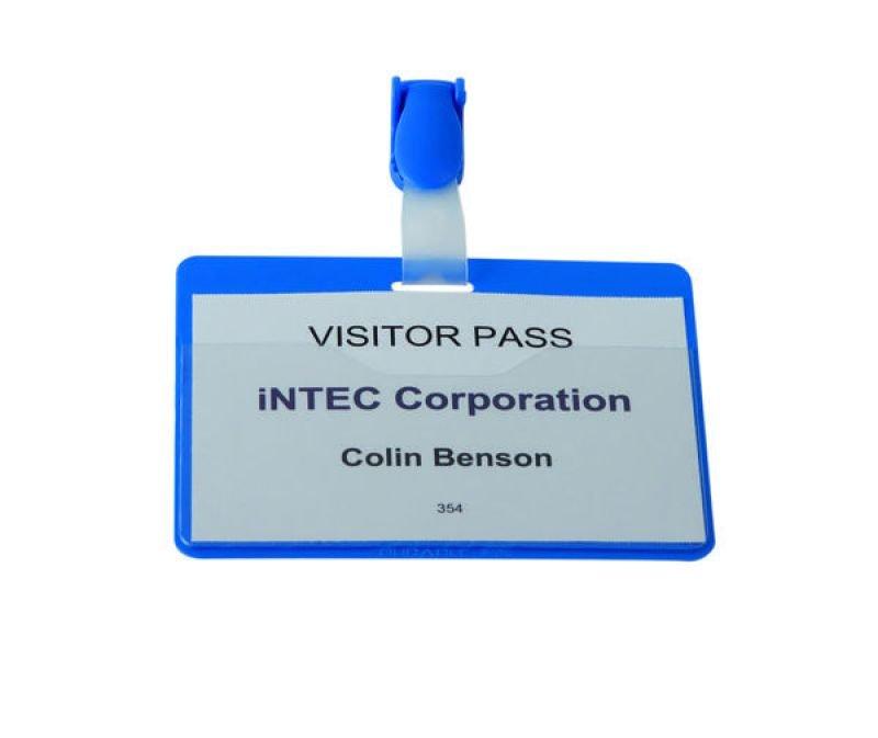 Durable Visitor Name Badge Landscape 60x90mm Blue 25 Pack