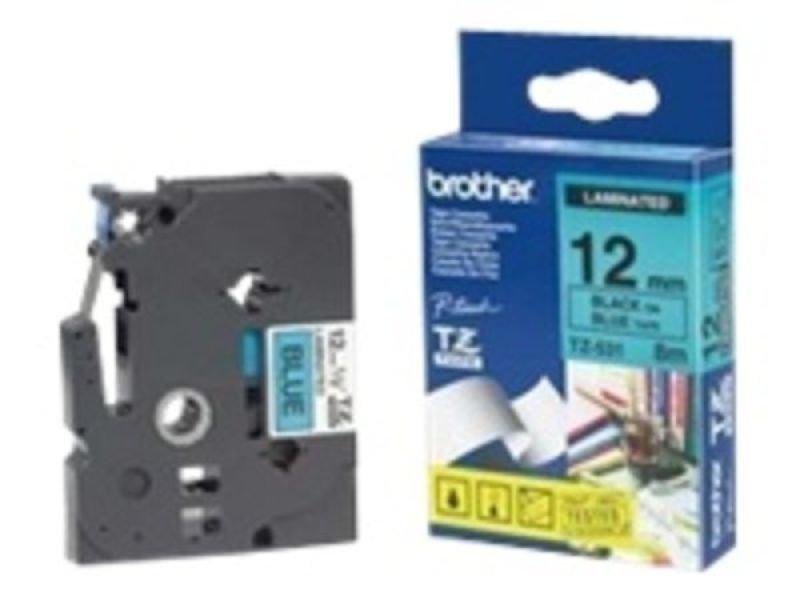 Brother TZe 531 Laminated tape- Black on Blue