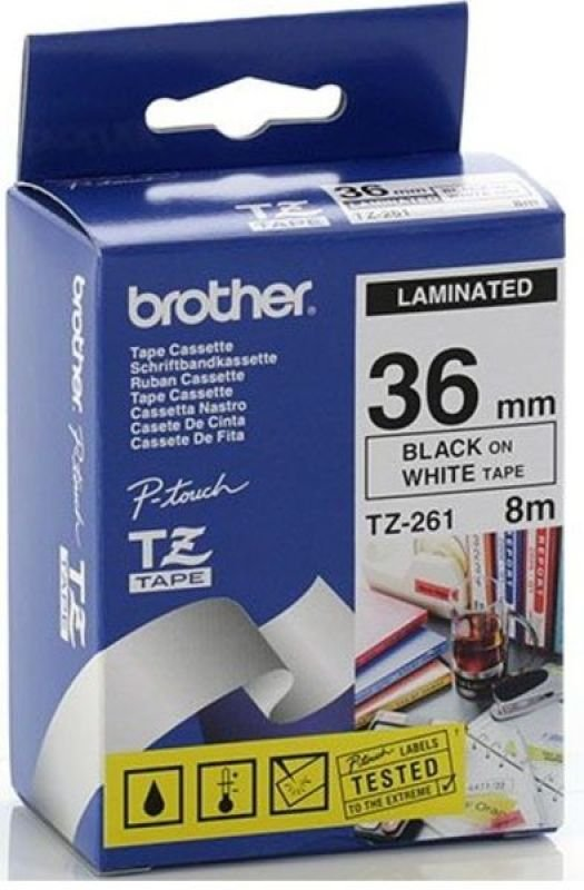 Brother TZe 261 Laminated Tape- Black on white