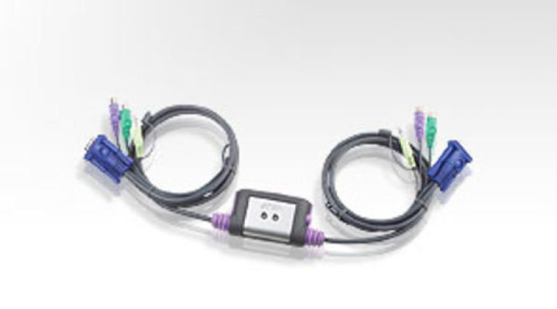 Aten 2 Port Ps2 Kvm Switch Cable Integrated + Speaker