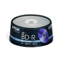 TDK 4x BD-R 25gb Blu-Ray Discs - 25 Pack Cake Box