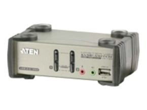 Aten 2 Port Kvmp Switch Ps2/usb + Audio Support (2 Cables Inc) 2xusb Hub Ports
