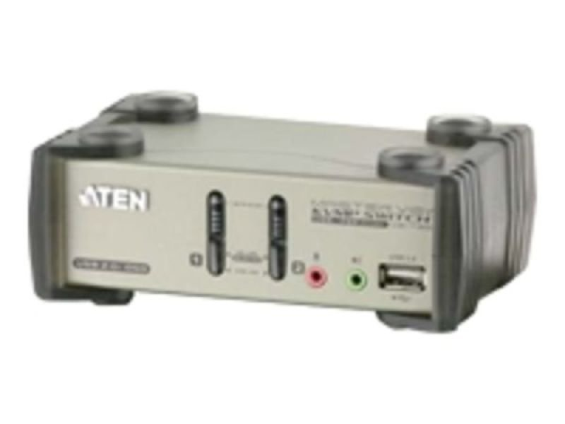 Aten 2 Port Kvmp Switch Ps2/usb + Audio Support (2 Cables Inc) 2xusb Hub Ports