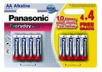 Panasonic Silver Everyday AA Alkaline Battery - 4 Pack + 4 Free