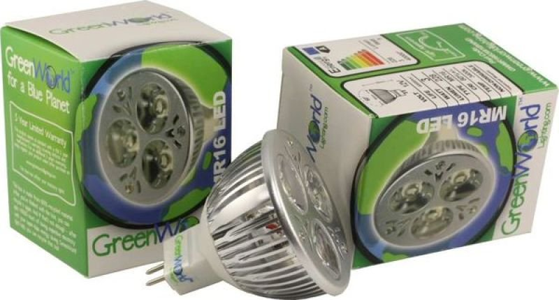 Image of Green World MR16 3X1W 270LM Warm White Non-Dimmable LED Bulb