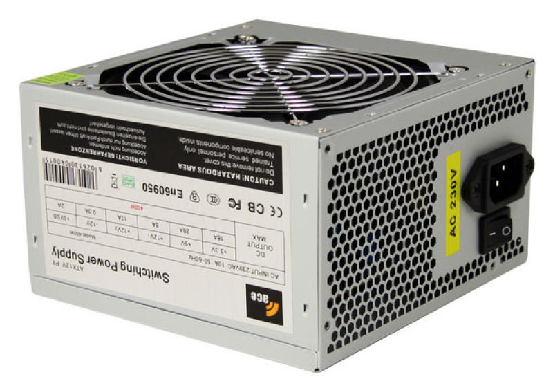 Image of Ace Black 120mm Fan 400W Fully Wired Efficient Power Supply