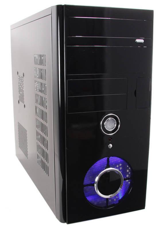 Casecom Shiny Piano Black Micro ATX Case with Blue LED Fan - No PSU