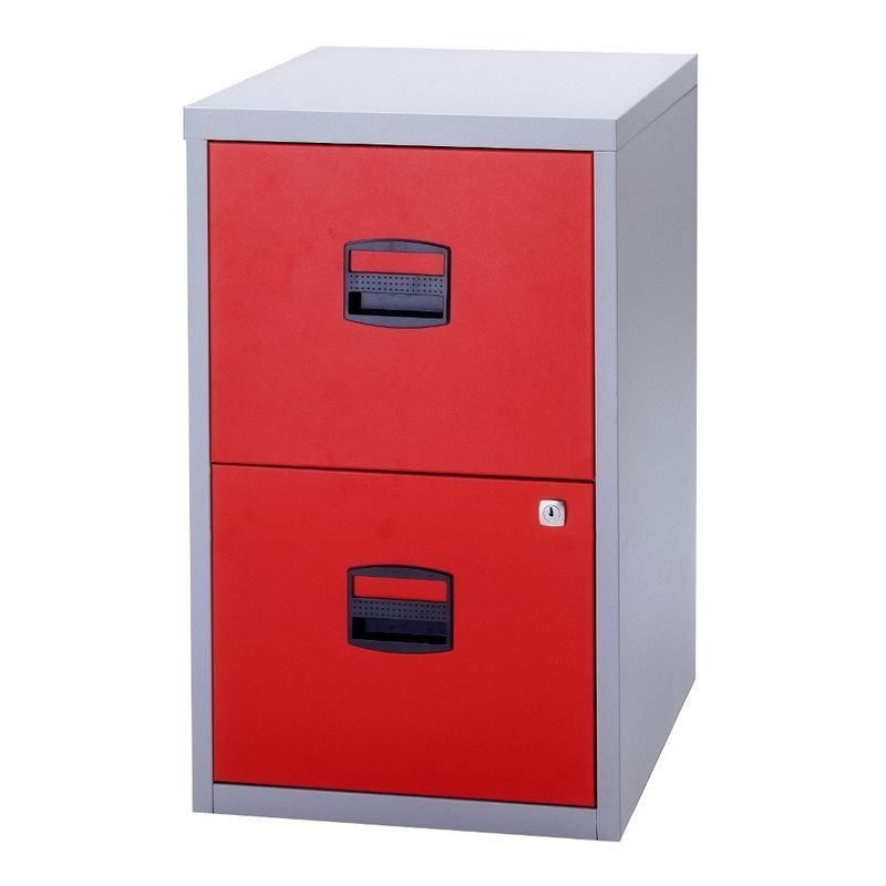 Image of Bisley A4 Personal Filing Cabinet 2 Drawer Lockable Grey and Red