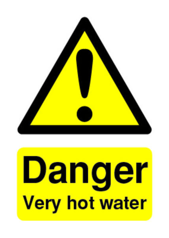 Extra Value 70x50mm PVC Safety Sign - Very Hot Water