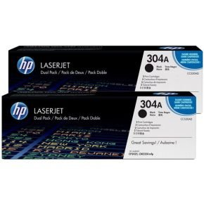 HP 304A Black Dual Pack Toner Cartridges - CC530AD