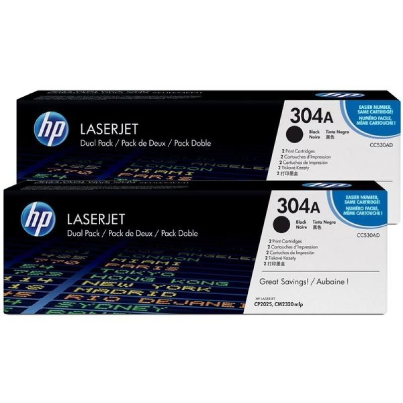 HP 304A Black Dual Pack Toner Cartridges - CC530AD