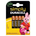 Duracell Mn2400 Simply AAA Alkaline Batteries - 4 Pack