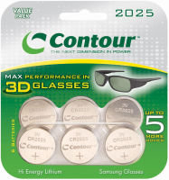 Contour 3D TV CR2025 Coin Cell Battery - 6 Pack