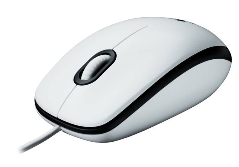 Logitech M100 White Optical Wired Mouse - USB