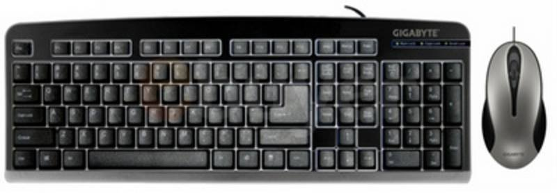 Gigabyte Black Wired Keyboard & Optical Mouse Bundle - UK Layout - PS/2 Connection (Mouse is USB)