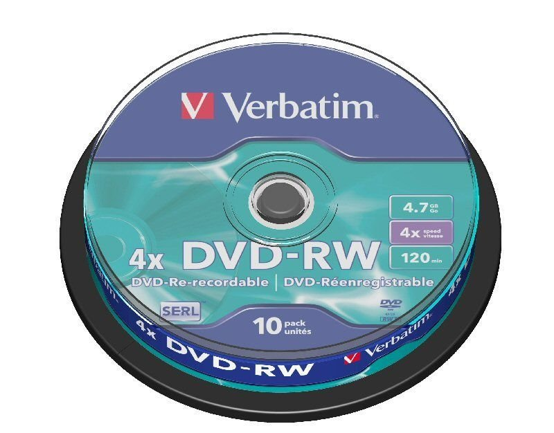 Verbatim 4x DVD-RW Discs - 10 Pack Spindle