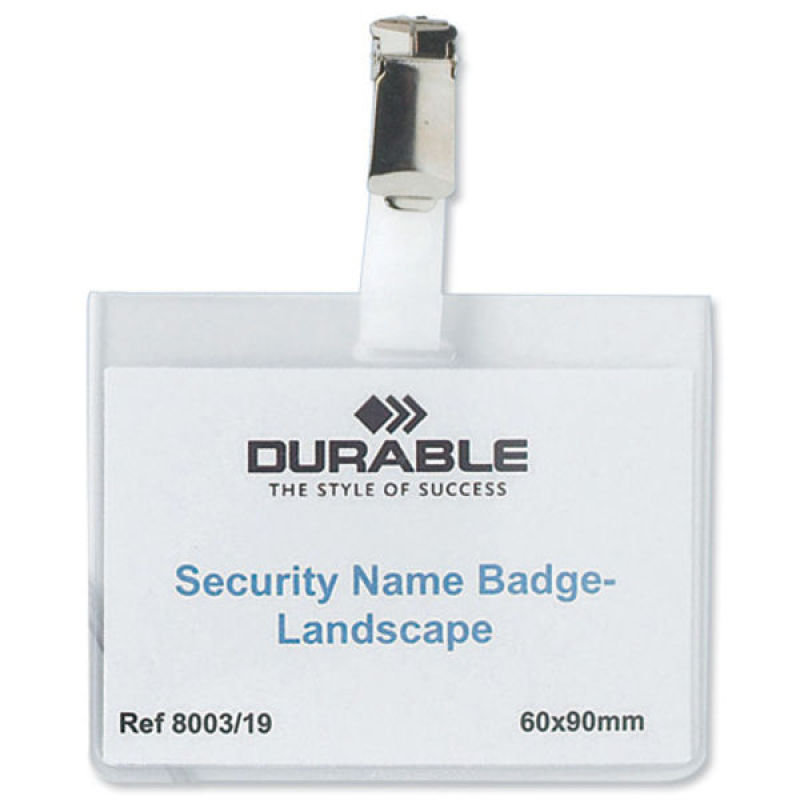 Durable Security Name Badge Landscape 60 x 90 mm 25 Pack