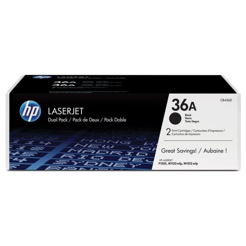 HP 36A Black Toner Cartridge - Dual Pack - CB436AD