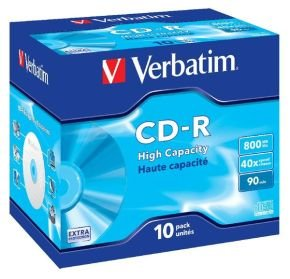 Verbatim High Capacity 90min CD-R - 10 Pack Jewel Case