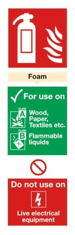 Extra Value 280x90mm Self Adhesive Safety Sign - Fire Extinguisher Foam