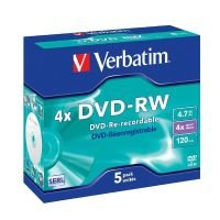 Verbatim 4x Advazo 4.7GB DVD-RW - 5 Pack Jewel Case