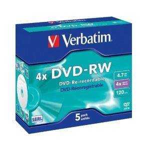 Verbatim 4x Advazo 4.7GB DVD-RW - 5 Pack Jewel Case