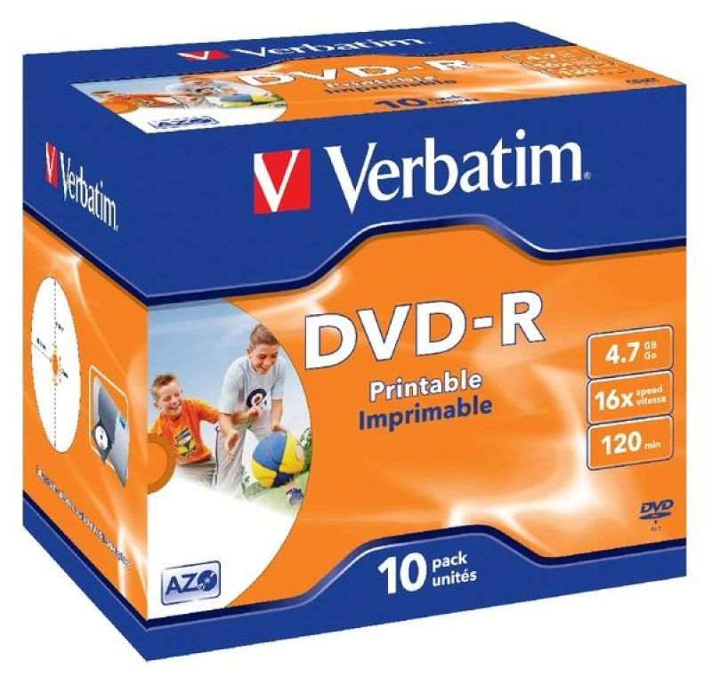 graphic relating to Printable Dvd Discs identified as Verbatim 16x DVD-R Inkjet Printable Discs - 10 Pack