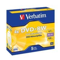 Verbatim 4x Advserl 4.7GB DVD+RW - 5 Pack Jewel Case