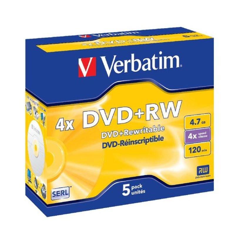 Verbatim 4x Advserl 4.7GB DVD+RW - 5 Pack Jewel Case