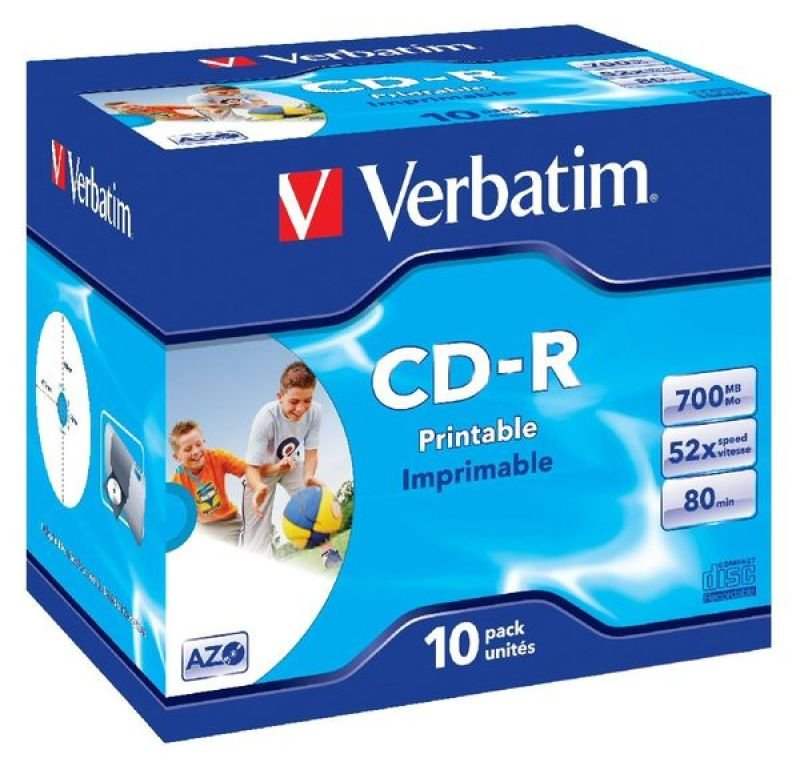 Verbatim 52x CD-R Inkjet Printable Discs - 10 Pack