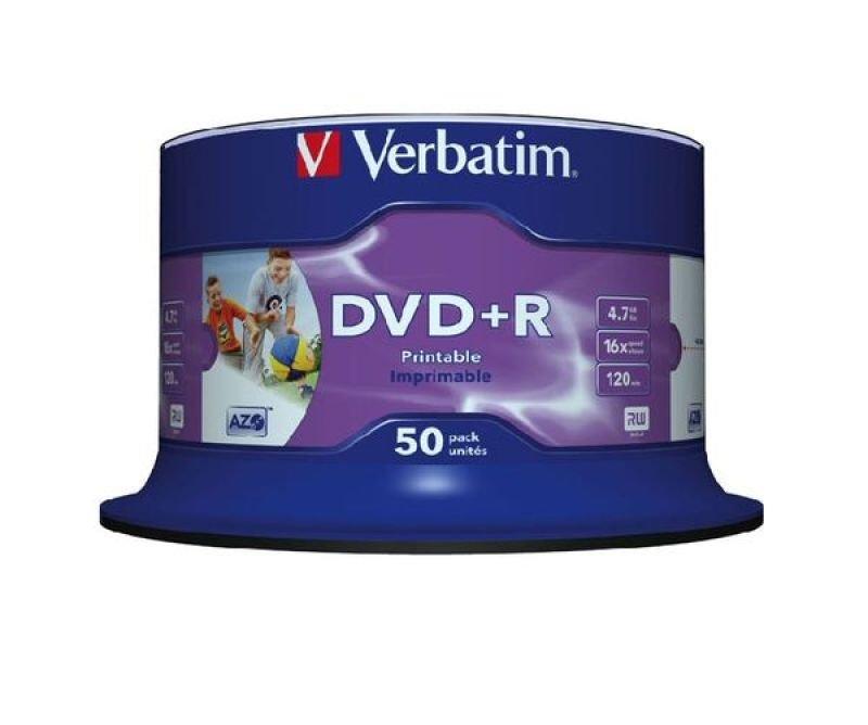 Verbatim 16x Inkjet Printable DVD+R Discs - 50 Pack