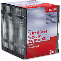 Imation Clear & Black Slim Jewel Cases - 25 Pack