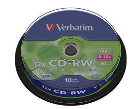 Verbatim 12x CD-RW Discs - 10 Pack Spindle