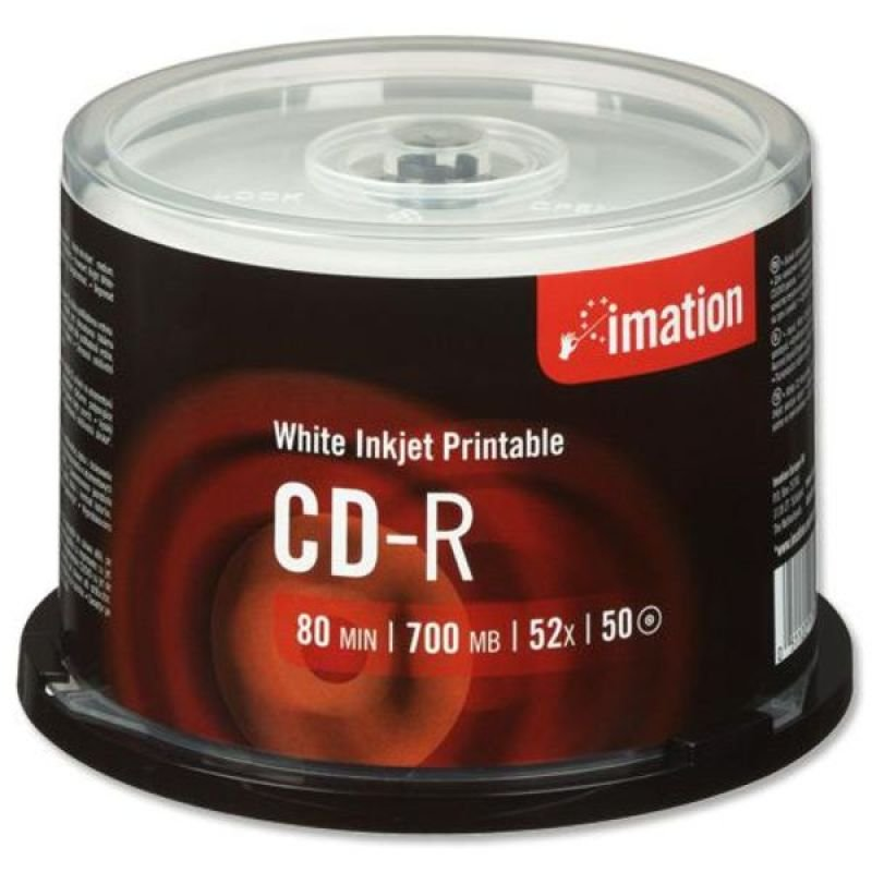 Image of Imation 52x CD-R 700MB Inkjet Printable 50 Pack Spindle