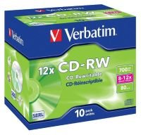 Verbatim 12x CD-RW Discs - 10 Pack Jewel Case