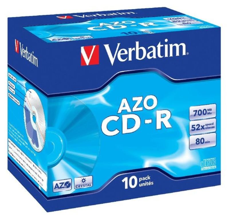 Verbatim AZO Crystal 52x CD-R Discs - 10 Pack
