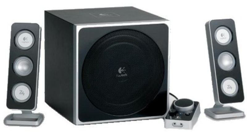 Logitech Z-4 Black 2.1 PC Speakers With Remote Control - 40W RMS