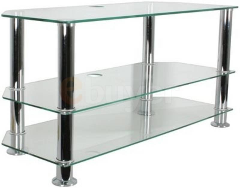 "Vistron 3 tier Glass TV Stand For 32"" to 42"" screens Clear Glass and Aluminium Finish"