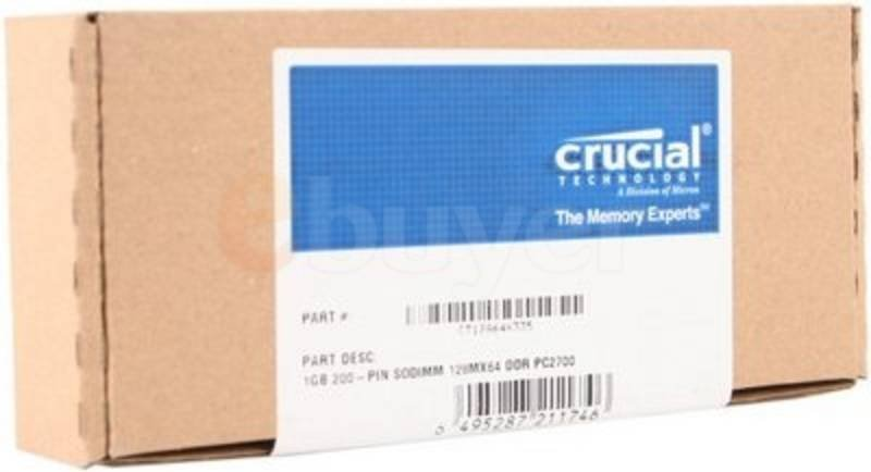 Image of Crucial 1GB DDR 333MHz/PC2700 Laptop Memory SODIMM Unbuffered CL2.5