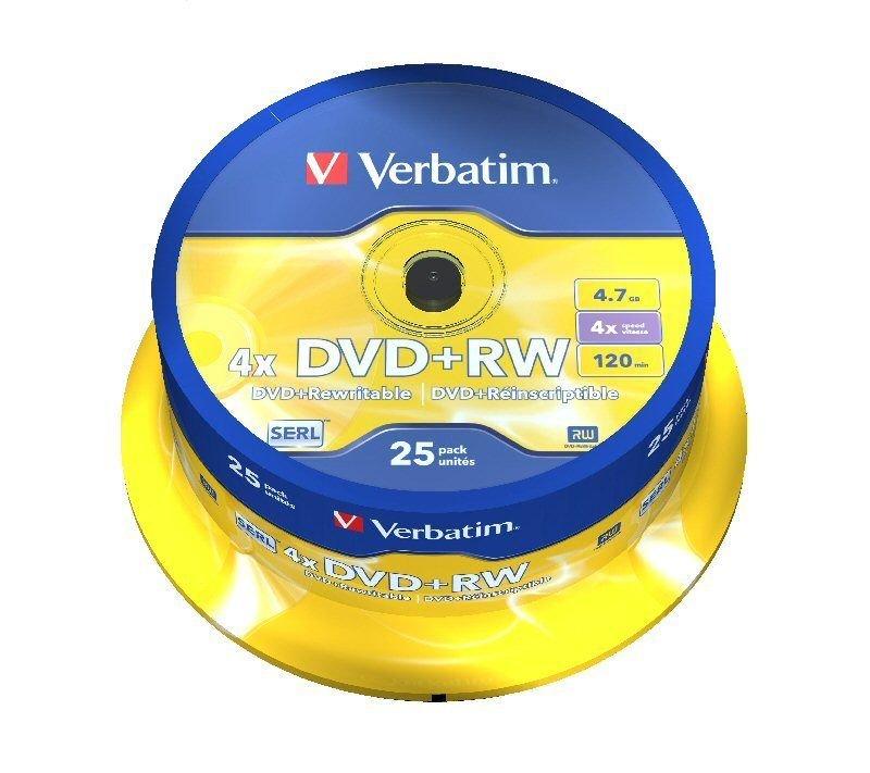 Verbatim 4x DVD+RW Discs - 25 Pack Spindle