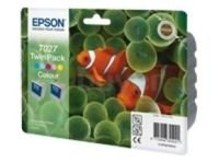 Epson T027 Twin Pack - Print cartridge - 2 x colour (cyan, magenta, yellow, light cyan, light magenta)