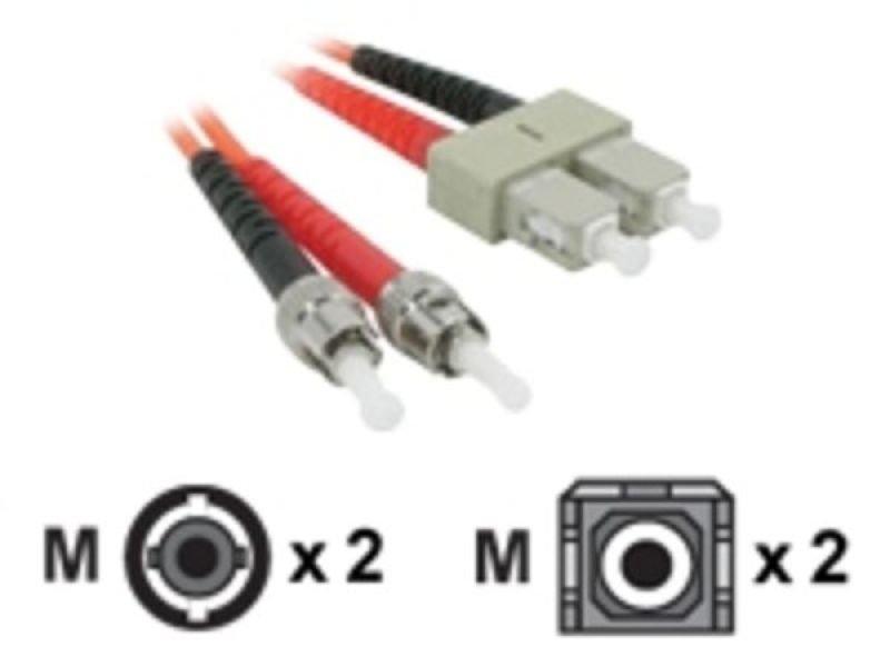 C2G, ST/SC LSZH Duplex 62 5/125 Multimode Fibre Patch Cable, 1m