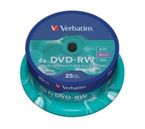 Verbatim 4x DVD-RW Discs - 25 Pack Spindle